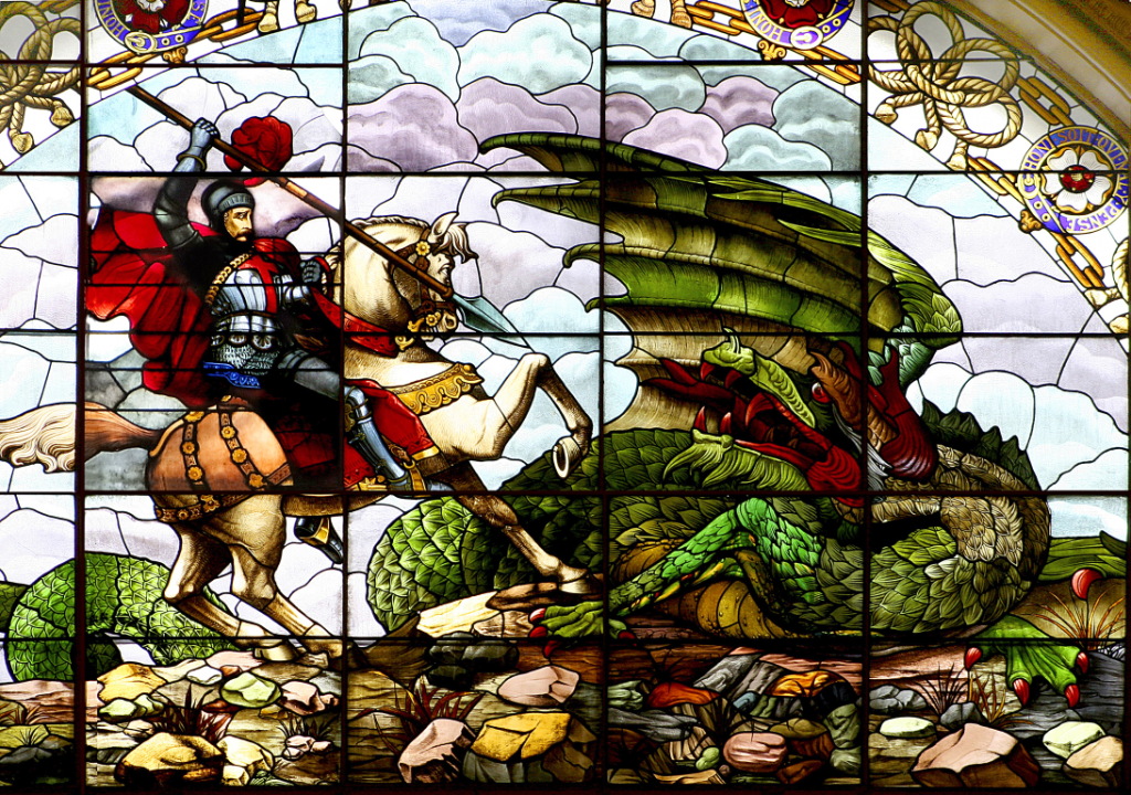 St. George and the Dragon. Stained glass window at St. George's Hall, Liverpool. Photo courtesy of Lynne Lawer.