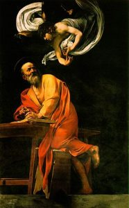 The Inspiration of Saint Matthew by Caravaggio (1602)